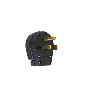 Pass & Seymour 3869 30/50 Amp 250 VAC 2-Pole 3-Wire NEMA 6-30P/6-50P Black Grounding Angled Straight Blade Plug