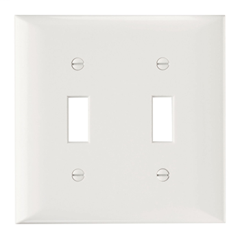 Pass & Seymour SP2-W 2-Gang 2-Toggle White Smooth Thermoset Plastic Standard Wallplate