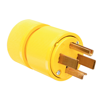 Pass & Seymour 1431 125/250 VAC 30 Amp Yellow 3-Pole 3-Wire Gator Grip Plug