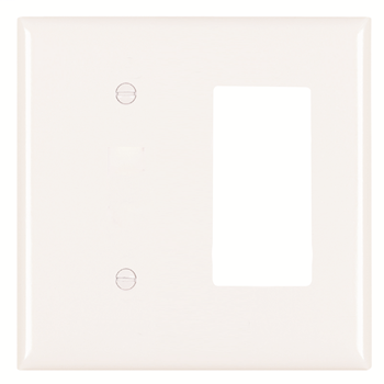 Pass & Seymour SP1426-W 2-Gang 1-Blank 1-Decorator White Smooth Thermoset Plastic Standard Combination Wallplate