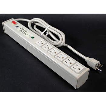 Plug-In Outlet Center Unit / 120V/15A/6 O/L /lighted switch/6' cord/Premium Grade Surge M6S