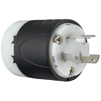 Pass & Seymour L630-P 30 Amp 250 VAC 2-Pole 3-Wire NEMA L6-30P Black and White Nylon Straight Locking Plug