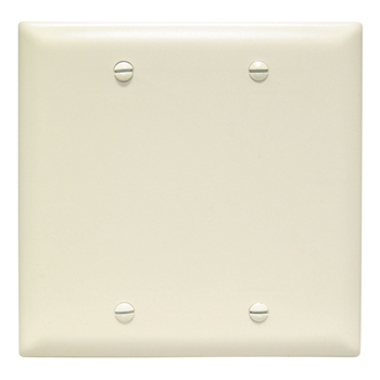 Pass & Seymour TP23-LA 2-Gang Blank Light Almond Nylon Standard Unbreakable Wallplate