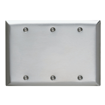 Pass & Seymour SS33 3-Gang Blank Smooth Brushed Stainless Steel Standard Wallplate