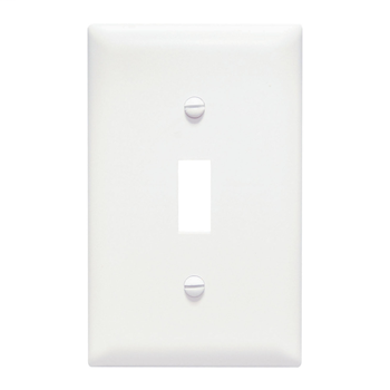 Pass & Seymour TP1-W 1-Gang 1-Toggle Switch White Nylon Standard Unbreakable Wallplate