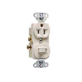 Pass & Seymour 691-LA 15 Amp 120/125 VAC NEMA 5-15R Light Almond Combination 1-Pole Switch/Single Receptacle