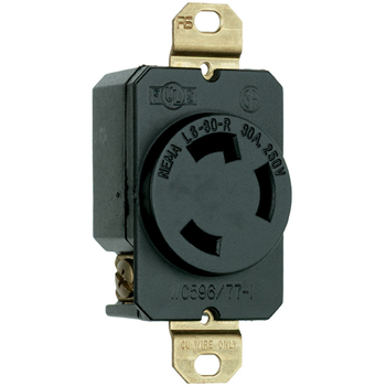 Pass & Seymour L630-R 30 Amp 250 VAC 2-Pole 3-Wire NEMA L6-30R Impact-Resistant Nylon Locking Single Receptacle