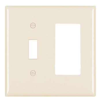 Pass & Seymour TP126-LA 2-Gang 1-Toggle Switch 1-Decorator Light Almond Nylon Standard Combination Unbreakable Wallplate