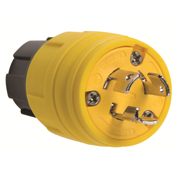 Pass & Seymour 24W-47 15 Amp 125 VAC 2-Pole 3-Wire NEMA L5-15P Yellow Thermoplastic Elastomer Watertight Locking Plug