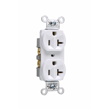 Commercial Spec Grade Receptacle, Side Wire, 20A, 125V, White CR20W