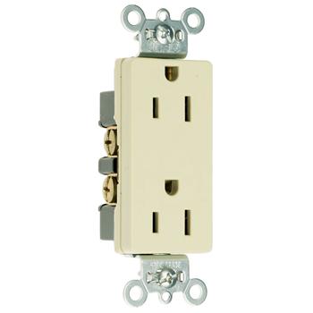 Pass & Seymour 26242-W 15 Amp 125 VAC 2-Pole 3-Wire NEMA 5-15R White Nylon Face Heavy Duty Duplex Decorator Receptacle