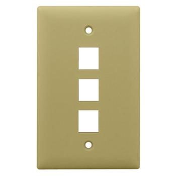 On-Q WP3403-IV 1-Gang 3-Port Ivory High Impact Flame Retardant Plastic Keystone Wallplate