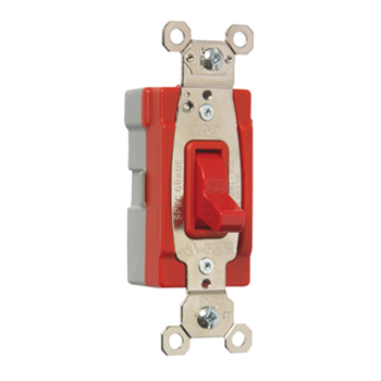 Pass & Seymour PT20AC1-RED 20 Amp 120/277 VAC 1-Pole Red Glass Reinforced Nylon Screw Mounting Toggle Switch
