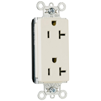 Pass & Seymour PT26352-W 20 Amp 125 VAC 2-Pole 3-Wire NEMA 5-20R White Nylon Face Duplex Decorator Receptacle