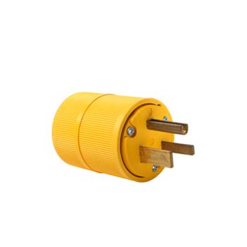 Pass & Seymour D0551 50 Amp 125 Volt 2-Pole 3-Wire NEMA 5-50P Yellow Straight Blade Power Plug