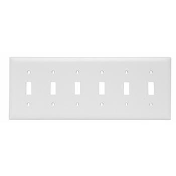 Pass & Seymour TP6-W 6-Gang 6-Toggle Switch White Nylon Standard Unbreakable Wallplate