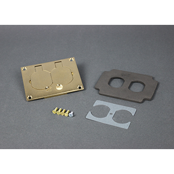 Wiremold 828R 3.156 x 4.182 Inch Brass Duplex Floor Box Cover Plate