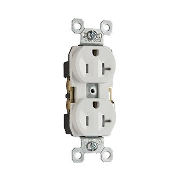Pass & Seymour TR20-W 20 Amp 125 VAC 2-Pole 3-Wire NEMA 5-20R White Nylon Tamper-Resistant Duplex Receptacle