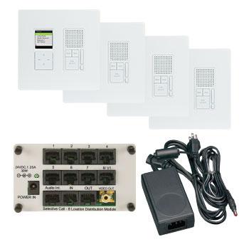 Pass & Seymour IC7400WH Selective Call Intercom 4-Location Kit - White