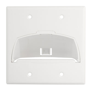 PS WP9002-WH Double Gang HingedBull Nose Wall plate - White