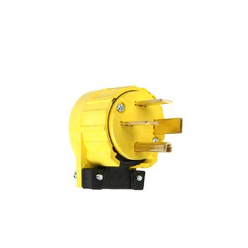 Pass & Seymour 5751-AN 50 Amp 250 VAC 3-Phase 3-Pole 4-Wire NEMA 15-50P Yellow Angled Straight Blade Power Plug