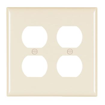 Pass & Seymour TP82-LA 2-Gang 2-Duplex Receptacle Light Almond Nylon Standard Unbreakable Wallplate