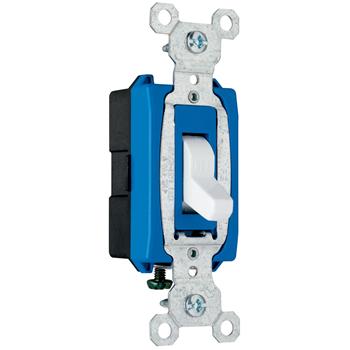 Pass & Seymour CS15AC1-W 15 Amp 120/277 VAC 1-Pole White Glass Reinforced Nylon Screw Mounting Toggle Switch