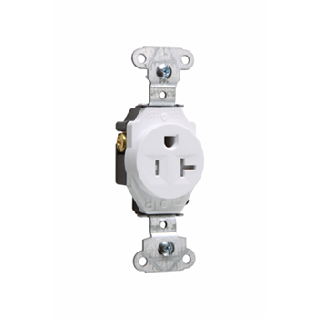 Pass & Seymour TR5351-W 20 Amp 125 VAC 2-Pole 3-Wire NEMA 5-20R White Nylon Face Tamper-Resistant Single Receptacle
