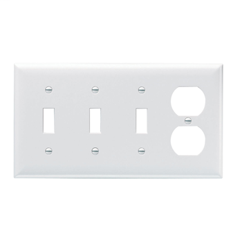 Pass & Seymour SP38-W 4-Gang 3-Toggle 1-Duplex White Smooth Thermoset Plastic Standard Combination Wallplate