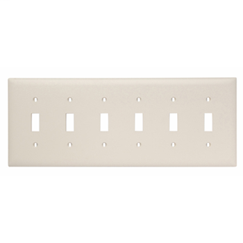 Pass & Seymour TP6-LA 6-Gang 6-Toggle Switch Light Almond Nylon Standard Unbreakable Wallplate