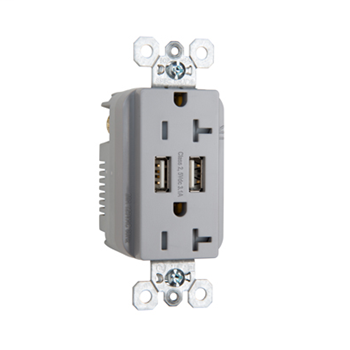 Pass & Seymour TR5362USBGRY Fed Spec Grade USB Charger with Tamper Resistant Gray 20 Amp Duplex Receptacles