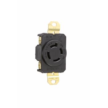 Pass & Seymour L1520-R 20 Amp 250 VAC 3-Phase 3-Pole 4-Wire NEMA L15-20R Impact-Resistant Nylon Locking Single Receptacle