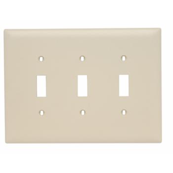 Pass & Seymour TPJ3-I 3-Gang 3-Toggle Switch Ivory Nylon Jumbo Unbreakable Wallplate