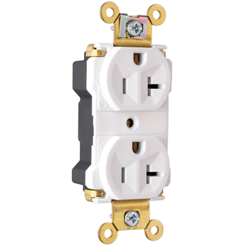 PlugTail® Industrial Extra Heavy-Duty Spec Grade Receptacles, 20A, 125V, White PT5362AW