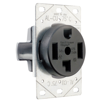 Pass & Seymour 3864 30 Amp 125/250 VAC 3-Pole 4-Wire NEMA 14-30R Single Dryer Straight Blade Power Receptacle