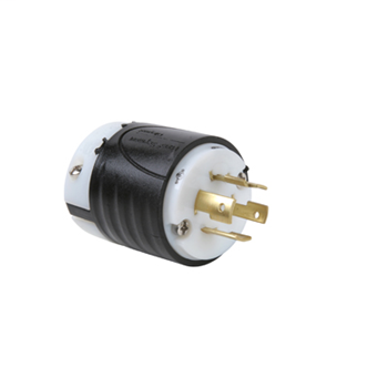 Pass & Seymour L1620-P 20 Amp 480 VAC 3-Phase 3-Pole 4-Wire NEMA L16-20P Black and White Nylon Straight Locking Plug