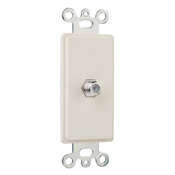 Pass & Seymour 26CATV-LA Single Gang Decorator F Type Coaxial Connector, Light Almond.