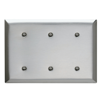 Pass & Seymour SS34 3-Gang Blank Smooth Brushed Stainless Steel Standard Wallplate