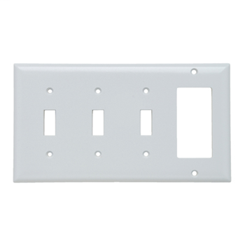 Pass & Seymour SP326-W 4-Gang 3-Toggle 1-Decorator White Smooth Thermoset Plastic Standard Combination Wallplate