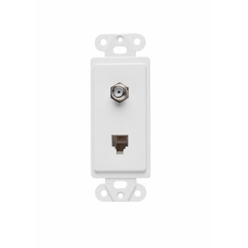 On-Q 26TELTV-WCC10 2-Outlet 4-Wire White Thermoplastic Communication Wallplate