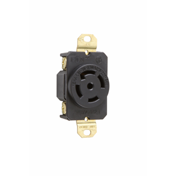 Pass & Seymour L2130-R 30 Amp 120/208 VAC 3-Phase 4-Pole 5-Wire NEMA L21-30R Impact Resistant Nylon Locking Single Receptacle