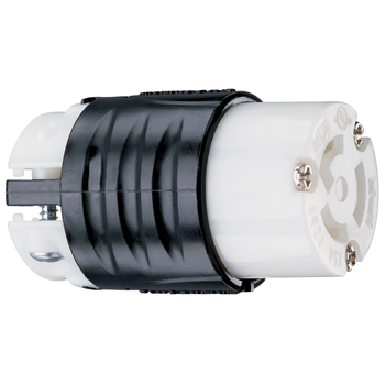 Mayer-15 Amp NEMA L515 Connector - Black Back, White Front Body PSL515C-1
