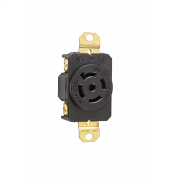 Pass & Seymour L2220-R 20 Amp 277/480 VAC 3-Phase 4-Pole 5-Wire NEMA L22-20R Impact-Resistant Nylon Locking Single Receptacle