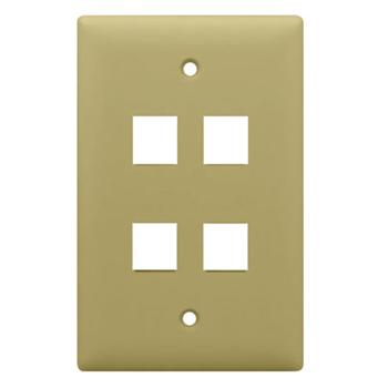 On-Q WP3404-IV 1-Gang 4-Port Ivory High Impact Flame Retardant Plastic Keystone Wallplate