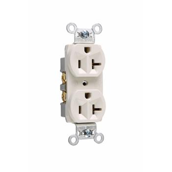 Pass & Seymour CR20-LA 20 Amp 125 VAC 2-Pole 3-Wire NEMA 5-20R Light Almond Nylon Face Corrosion-Resistant Duplex Receptacle