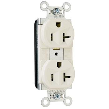 Pass & Seymour PT5362-LA 20 Amp 125 VAC 2-Pole 3-Wire NEMA 5-20R Light Almond Nylon Face PVC Back Body Duplex Receptacle