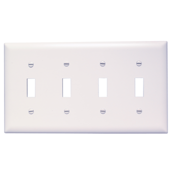 Pass & Seymour TP4-W 4-Gang 4-Toggle Switch White Nylon Standard Unbreakable Wallplate