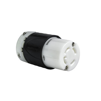 Pass & Seymour L1630-C 30 Amp 480 VAC 3-Phase 3-Pole 4-Wire L16-30R Black and White Nylon Locking Connector