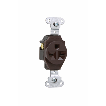 Pass & Seymour 5851 20 Amp 250 VAC 2-Pole 3-Wire NEMA 6-20R Brown Heavy Duty Single Receptacle