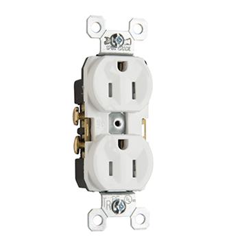 Pass & Seymour TR15LA 15 Amp 125 VAC 2-Pole 3-Wire NEMA 5-15R Light Almond Nylon Tamper-Resistant Duplex Receptacle